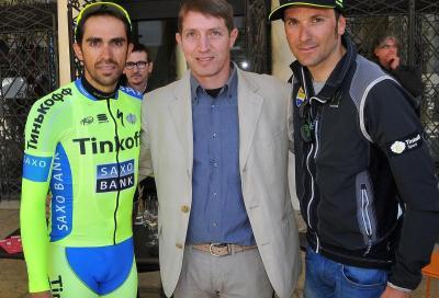 Contador e Basso provano la crono che arriva a Valdobbiadene