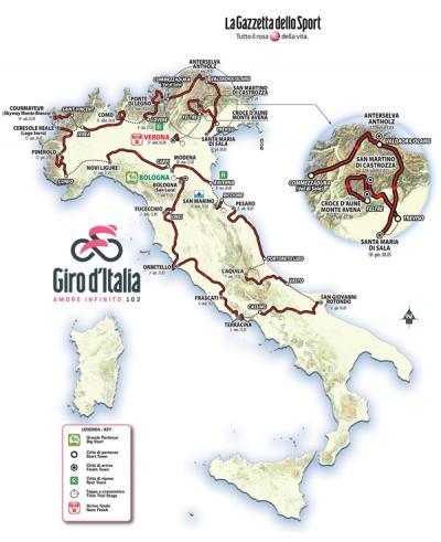 Il Giro 2019 sarà tutto su suolo italiano