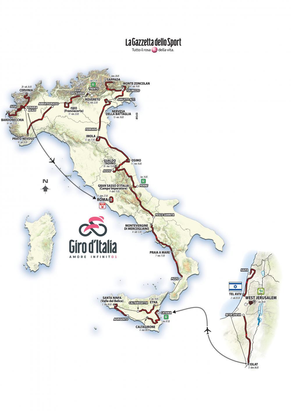 Presentata la 101esima edizione del Giro d'Italia, al via domenica 4 maggio 2018 da Gerusalemme. Il percorso.